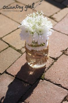 Mason Jar Wedding Décor/ White Daisies and Babies Breath Floral Arrangements by Country Girl Collections
