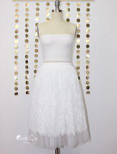 New to CestCaNY on Etsy: Brigitte White Tulle Skirt White Lace Skirt Adult Tutu Bridal Skirt Braidesmaids Skirt Plus Size Tutu Midi Tulle Skirt (69.00 USD)