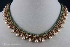 Herringbone Lace Collar in Light Bronze Swarovski pearls and metallic olive and bronze seed beads. Metal button clasp.