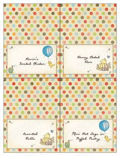 Printable Classic Winnie the Pooh Buffet Cards by WoollyBearStudio, $10.00