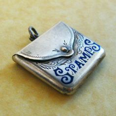 Edwardian Fob Charm for holding postage stamps in the shape of a post bag. Antique Jewelry, Silver Jewelry, Vintage Jewelry, Vintage Charm Bracelet, Charm Jewelry, Fine Jewelry, Charm Bracelets, Journaling, Jitter Glitter