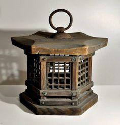 Antique Japanese wooden hanging lantern Andon Edo period 19th century
