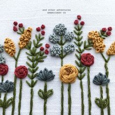 Wildflower Hand Embroidery Art by And Other Adventures Embroidery Co Hand Embroidery Patterns Flowers, Hand Embroidery Videos, Embroidery Stitches Tutorial, Embroidery Flowers Pattern, Simple Embroidery, Embroidery Hoop Art, Hand Embroidery Designs, Indian Embroidery, Embroidery Online