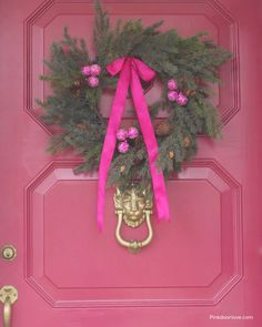Pink Christmas Wreath  www.pinkdoorlove.com