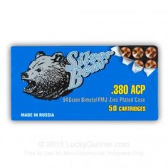 380 Auto - 94 gr FMJ - Silver Bear - 1000 Rounds