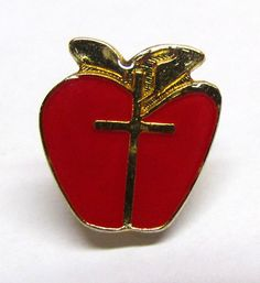 Vintage Apple and Cross Gold Tone & Enamel Lapel Pin / Tie Tac by VINTAGEandMOREshop on Etsy https://www.etsy.com/listing/231791776/vintage-apple-and-cross-gold-tone-enamel