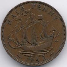 Nieuwe Veiling Begonnen United Kingdom 1/2 Penny 1942 0,65€