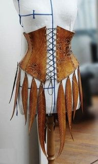 Leather corset with leather feathers