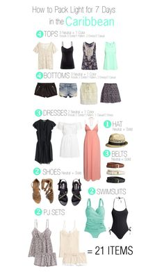 How to Pack Light for 7 Days in the Caribbean by tlexrawr on Polyvore featuring H&M, maurices, J.Crew, Boohoo and Ardene