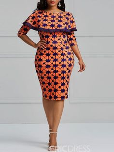 Ericdress Bodycon Geometric Print Women's Dress – African Fashion Dresses - African Styles for Ladies Ankara Dress Styles, African Fashion Ankara, Latest African Fashion Dresses, African Dresses For Women, African Print Fashion, African Attire, Women's Fashion Dresses, Women's Dresses, Africa Fashion