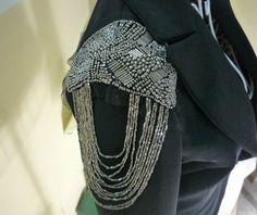 Fashion Gothic Punk Metallic Beaded Chain Pin Fringed Epaulet Shoulder Brooch | eBay