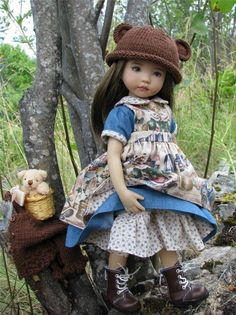 """~BEARY CUTE FOR FALL!~ OOAK by Tuula fits 13"""" Effner Little Darling to a """"t""""!"""