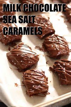 Milk Chocolate Sea Salt Caramels | Six Sisters' Stuff Chocolate Candy Recipes, Salted Caramel Chocolate, Melting Chocolate Chips, Chocolate Caramels, Fudge Recipes, Sea Salt Chocolate, Chocolate Tarts, Salted Caramels, Salted Caramel Candy Recipe