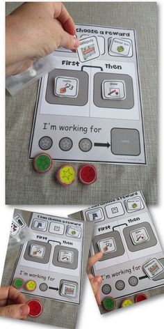 This focuses on the three star reward token board. A student will put down what they are working for and what they have to do in order to achieve it. They have velcro pieces of laminated paper that are colored… Autism Classroom, Special Education Classroom, Classroom Setup, Classroom Organization, Classroom Reward System, Class Reward System, Reward System For Kids, Special Education Activities, Classroom Behavior Management
