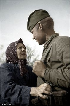 Soviet soldier and civilian - ww2