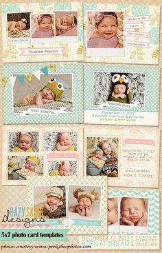 5x7 Digital Photo Card Templates  Birth by hazyskiesdesigns, $20.00
