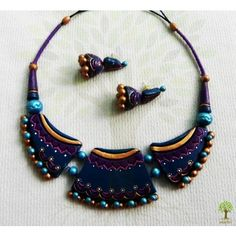 Terracotta Jewellery -  Blue Purple Exclusive Choker