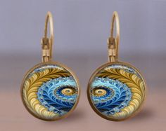 bronze fractal   Earrings Jewelry - 12mm Fractal 1 D esign - Choice of Finish & Style ...