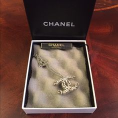 Chanel necklace pendant CC logo. Silver. With original box and tag. No trades. CHANEL Jewelry Necklaces