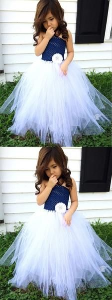 Custom Made Admirable Blue Flower Girl Dresses A-Line Strapless Navy Blue Tulle Flower Girl Dress,Cheap Flower Girl Dresses Tulle Flower Girl, Cheap Flower Girl Dresses, Mermaid Dresses, Cheap Dresses, Baby Flower, Flower Boys, Wedding Dresses For Kids, Wedding Gowns With Sleeves, Long Sleeve Wedding