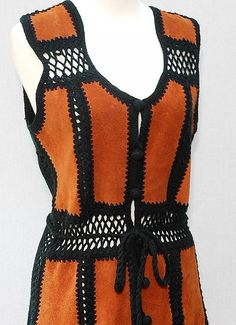 Vintage hippie vest with leather and crochet details from BellDoraVintage