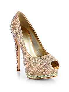 Giuseppe Zanotti Jeweled Satin Platform Pumps- Forget about a graduation ring I want these!