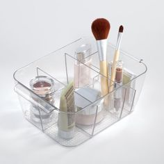 InterDesign Cosmetic Organizer Tote for Vanity Cabinet to Hold Makeup, Beauty Products, Clear
