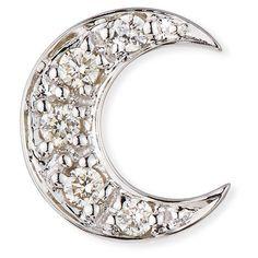 Sydney Evan 14k Pave Diamond Crescent Moon Single Stud Earring ($420) ❤ liked on Polyvore featuring jewelry, earrings, jewelry earrings, white gold, stud earrings, post earrings, pave diamond stud earrings, pave jewelry and post back earrings