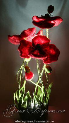 Lamp. Poppies. Olga Gentle (Felt inlay)