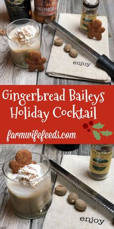 Gingerbread Baileys Holiday Cocktail from Farmwife Feeds is a festive seasonal cocktail made with Captain Morgans Gingerbread Rum! Christmas Martini, Christmas Cocktails, Gingerbread Drink Recipe, Fun Drinks, Yummy Drinks, Alcoholic Drinks, Beverages, Baileys Cocktails, Martinis