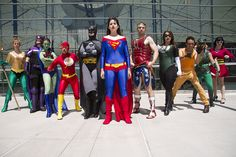 A gender-bent JL; apart from the sheer coolness factor, it works as an observation of the sexism inherent the costuming of male/female superheroes.