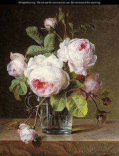 Roses in a Glass Vase on a Ledge - Cornelis van Spaendonck