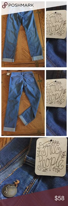 NWT FREE PEOPLE Skinny Jeans Soft as butter FREE PEOPLE Stretch Jeans in Sky Blue. Size 26. Made in USA! 49% Rayon, 32% cotton, 17% polyester, 2% spandex. Free People Jeans Skinny