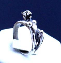 Erotic nude lioness sterling silver ring, Adult Naked Panther ring, Jaguar Ring #Handmade #Freeform