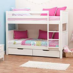 White Bunk Bed with Drawers . White Bunk Bed with Drawers . Harper & Bright Designs White Twin Over Twin Bunk Bed with Childrens Bunk Beds, Girls Bunk Beds, White Bunk Beds, Modern Bunk Beds, Twin Bunk Beds, Kid Beds, Modern Bedroom, Bed With Underbed, Bunk Beds With Drawers