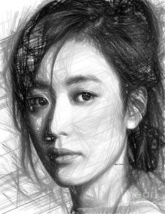 Female Sketch Expression Digital Art by Rafael Salazar
