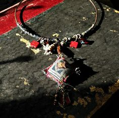 Tribal gypsy silk wrapped copper choker with angel by quisnam, $45.00