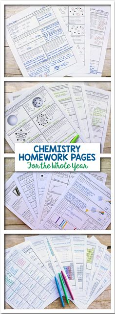 If you're teaching chemistry, you need this pack of homework pages for the whole year.  It includes pages that are great for basic level students through honors level students and covers an entire year of chemistry from matter and measurement to acids, bases, and equilibrium.  Each page is carefully designed with custom drawn diagrams and thoughtful questions, created in professional publishing software. Science with Mrs. Lau