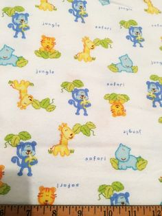 One yard of Jungle Baby Animals - Flannel Fabric by the yard.  Flannel fabric - Lightweight single sided and approximately 42 wide.  Perfect for: * Receiving Blankets * Backing for all Blankets * Bibs * Burp Cloths * Wash Cloths * Clothing * All types of projects!  The price for all fabric sold is in 1 yard increments. If more than 1 yard is purchased, it will come in one piece. If you have any questions, please feel free to contact me prior to purchase.  *** If a PW is added to the…