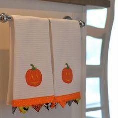 topstitch new trim piece at bottom...PLEASANT HOME: Target $2.50 Halloween Dish Towels