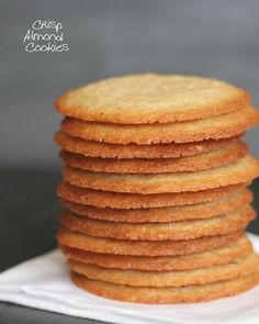 Crisp Almond Cookies-thin crisp cookies with lots of almond flavor ~ These look SOOO good! I love almond cookies! Köstliche Desserts, Delicious Desserts, Dessert Recipes, Yummy Food, Tasty, Thermomix Desserts, Health Desserts, Almond Cookies, Yummy Cookies