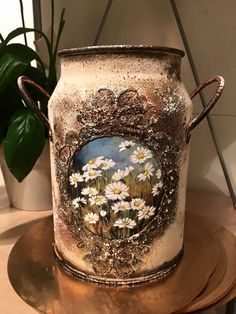 Pin by Teresa on Decoupage Decoupage Jars, Decoupage Vintage, Dyi Crafts, Recycled Crafts, Painted Milk Cans, Old Milk Cans, Country Christmas Decorations, Altered Bottles, Bottle Painting