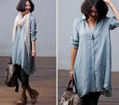 Loose Fitting Linen Long Shirt Blouse for Women - Light Blue -Long Sleeved Women Clothing  $69.04 CAD