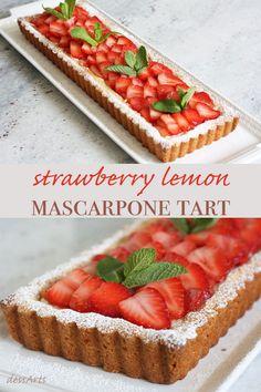 Looking for an easy elegant dessert? Nothing says summer like this fresh strawberry lemon mascarpone tart. Mini Desserts, Elegant Desserts, Strawberry Desserts, Summer Desserts, No Bake Desserts, Just Desserts, Strawberry Tarts, French Dessert Recipes, Fruit Tarts