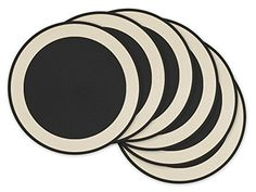 Set a contemporary table with these Woven Border Placemats from Design Imports. The bold black center, white border and black rim create an eye-catching look for your table, while the woven design adds tasteful texture to your table setting.