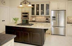Dark kitchen island w/lite cabinets