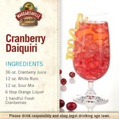 For those days when you're craving something other than a margarita, why not whip up a delicious Cranberry Daiquiri? Liquor Drinks, Cocktail Drinks, Craft Cocktails, Cocktail Recipes, Beverages, Daiquiri, Refreshing Drinks, Yummy Drinks, Yummy Food