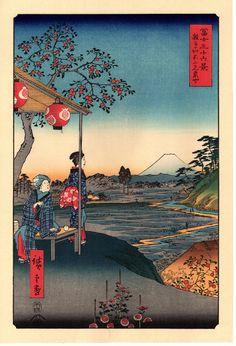 """ukiyoesalon: """"гравюр, японский Ukiyoe, Хиросигэ,"""" Фуджи-вид Чайхана на Zôshigaya """", Тридцать шесть видов горы Фудзи. """""""