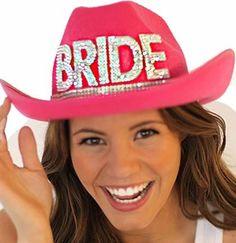 Western Gem Bride Coral Pink Hat w/ White Veil for bachelorette party hair ideas!