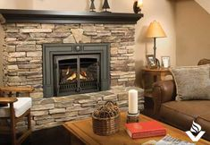 Fireplace: stone and gas insert. Replace black mantle with barn beam! Gas Stove Fireplace, Basement Fireplace, Fireplace Stores, Fireplace Hearth, Fireplace Inserts, Fireplace Mantle, Fireplace Design, Stone Mantle, Cozy Basement